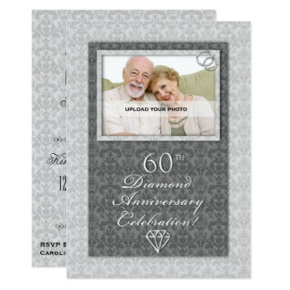 Damask 60th Diamond Wedding Anniversary Party Card
