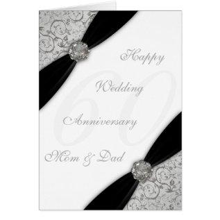 Damask 60th Wedding Anniversary Greeting Card at Zazzle