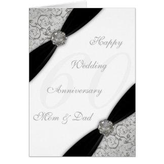 Damask 60th Wedding Anniversary Greeting Card