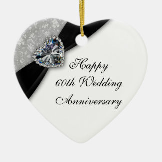 Damask 60th Wedding Anniversary Heart Ornament