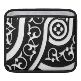 Damask Abstract Art in Black and White iPad Sleeve
