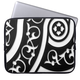 Damask Abstract Art in Black and White Computer Sleeves