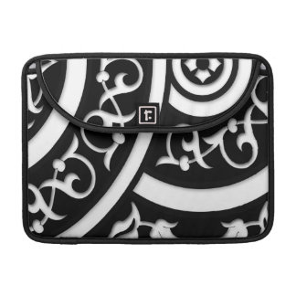 Damask Abstract Art in Black and White Sleeves For MacBooks