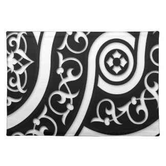 Damask Abstract Art in Black and White Cloth Place Mat