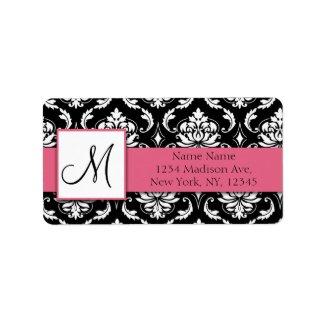 Damask Address Label Honeysuckle Pink Monogram label