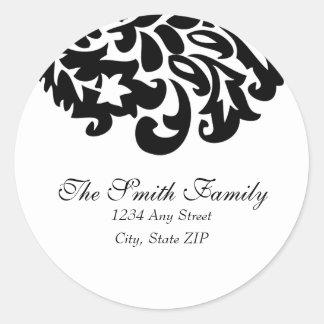 damask address label classic round sticker