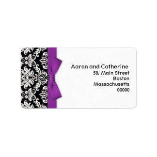 Damask Address Labels with Purple Bow