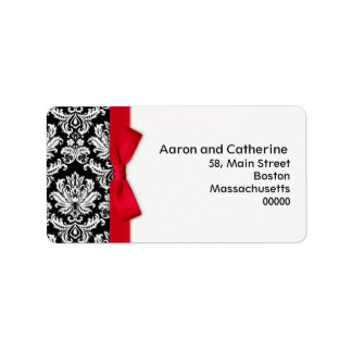Damask Address Labels with Red Bow