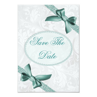 Damask and Bows 85th Birthday Save The Date 3.5x5 Paper Invitation Card