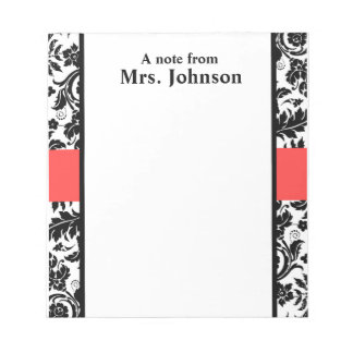 Damask and coral pink note pad
