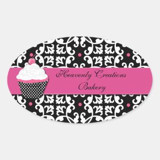 Damask and Cupcake Bakery Box Stickers