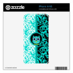 damask and cute turquoise owl iPhone 4/4S skins Skins For The iPhone 4S