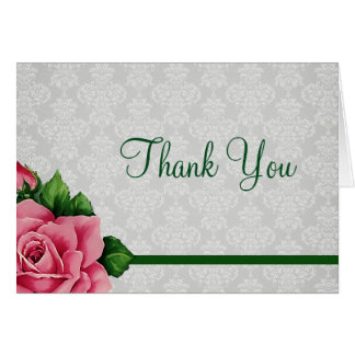 Damask and Floral Rose Thank You Card