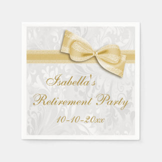 Damask and Gold Faux Bow Retirement Napkin
