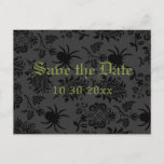 🎃  Damask and Green Save the Date Postcard