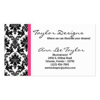 Damask and Hot Pink Elegant Trendy Business Card
