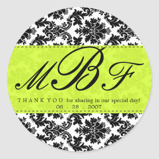 Damask and Lime Classic Round Sticker