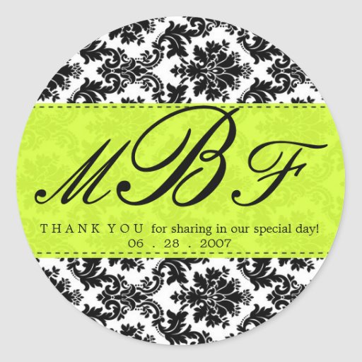 Damask and Lime Round Sticker