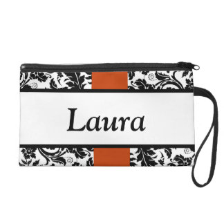 Damask and orange personalized design wristlet