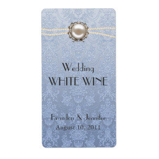 Damask and Pearls Wedding Mini Wine Labels