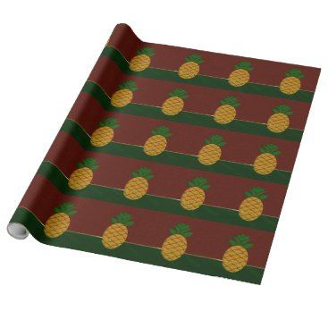 Christmas Themed Damask and Pineapple Christmas Wrapping Paper