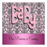 """Damask and Pink Baby Shower Invitation 5.25"""" Square Invitation Card"""