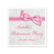 Damask and Pretty Pink Faux Bow Retirement Paper Napkin