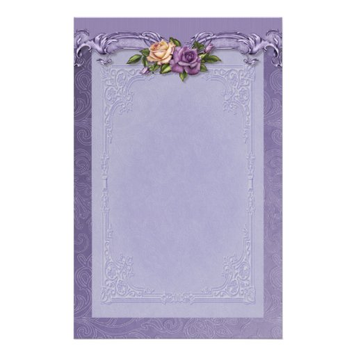 Damask and Roses Purple Stationery