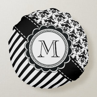 Damask and Stripes Monogram Round Pillow