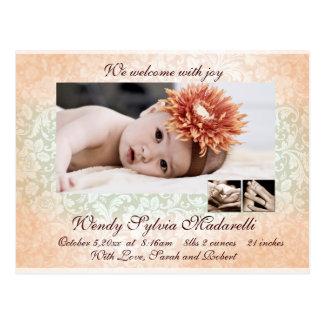 Damask Angel Birth Announcement Postcard