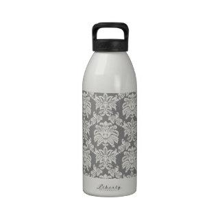 Damask - antique grey reusable water bottles
