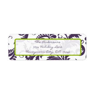 Damask Apple Green & Lapis Purple Address Label