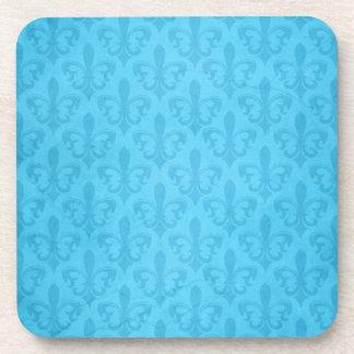 Damask aqua blue fleur de lis set of 6 coasters