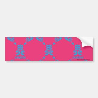 Damask Aqua-Magenta Bumper Stickers