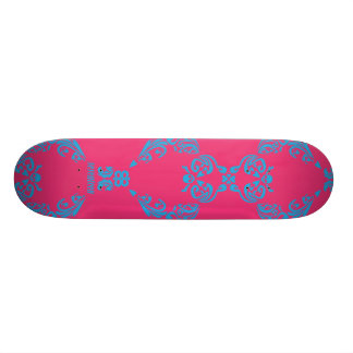 Damask Aqua-Magenta Custom Skateboard
