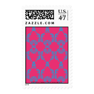 Damask Aqua-Magenta Postage Stamp