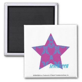 Damask Aqua-Purple 3 2 Inch Square Magnet