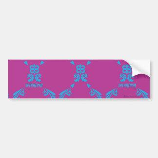 Damask Aqua-Purple Car Bumper Sticker