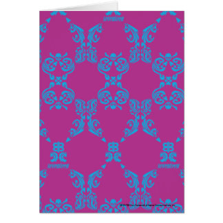 Damask Aqua-Purple Greeting Card