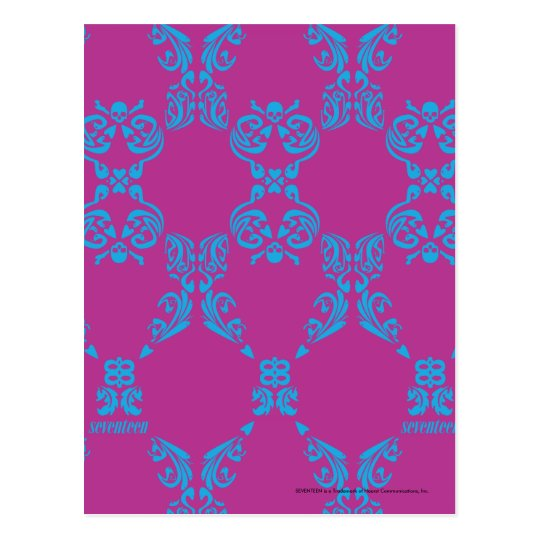 Damask Aqua-Purple Postcard