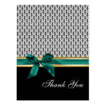 damask aqua  ribbon ThankYou Cards