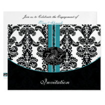 damask aqua silver wedding invitation