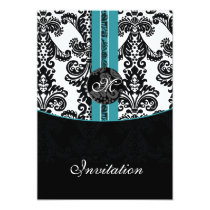 damask aqua wedding invitation