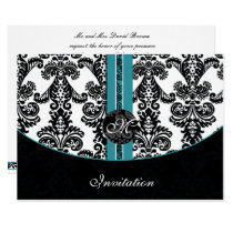 damask aqua wedding monogram invitation