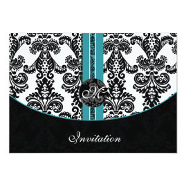 Black and  Tiffany Blue   Damask Wedding Invitations