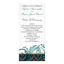 damask aqua Wedding program