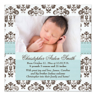 Damask Baby Announcement Blue and Brown