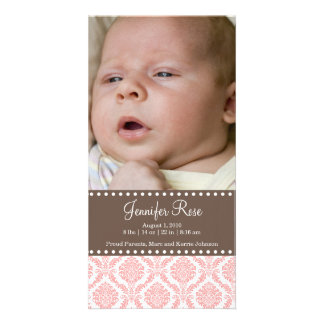 Damask  Baby Announcement Photo Card