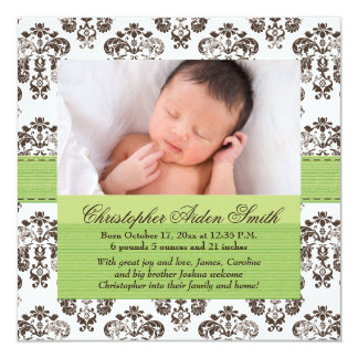 Damask Baby Birth Photo Annoucement Green Brown Card
