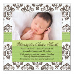 """Damask Baby Birth Photo Annoucement Green Brown 5.25"""" Square Invitation Card"""